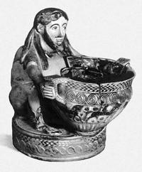 Коринфский сосуд в виде сатира, держащего кратер. VI в. до н.э. Лувр. Париж