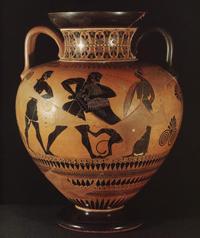 Эксекий. Борьба Геракла с немейским львом. Около 550 г. до н.э. Берлин, Государственные музеи