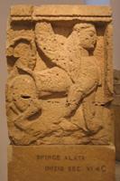 Сфинкс. Метопа Храма малых метоп Селинунт. VI в. до н.э. Палермо, Национальный музей