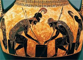 Ахилл и Аякс, играющие в кости. Эксекий. Фрагмент росписи чернофигурной амфоры. III четверть VI в. до н. э. Рим, Ватикан