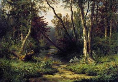Лесной пейзаж с цаплями 1870
