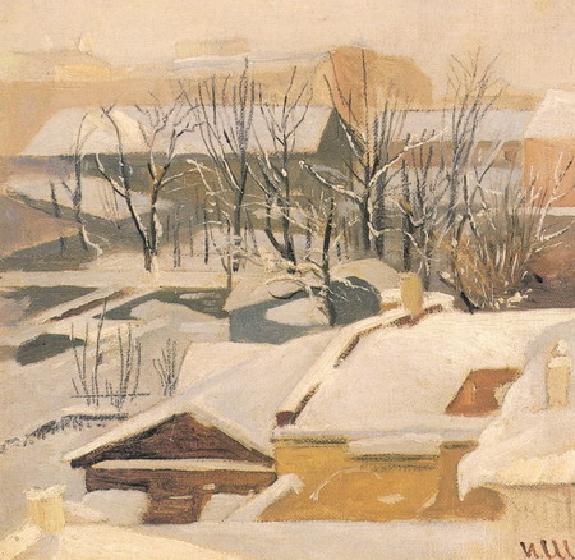 Городские крыши зимой.