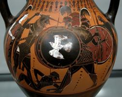 Геракл и Герион. Аттическая чернофигурная амфора. Около 540 г. до н.э. Государственное античное собрание. Мюнхен
