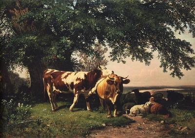 Стадо под деревьями 1864