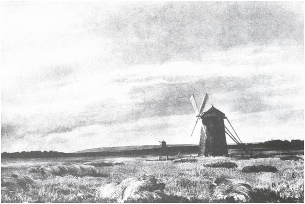 Мельница в поле.