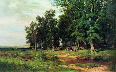 На покосе в дубовой роще. 1874
