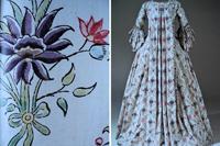 Платье и фрагмент ткани платья (слева) robe a la francaise. Франция. 1770 г