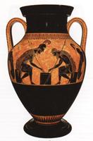 Эксекий. Ахилл и Аякс, играющие в кости. Чернофигурная амфора. III четверть 6 в. до н.э. Рим, Ватикан