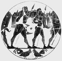 Возвращение с битвы (Килик из Тарквинии. Середина VI в. до н.э. Берлин, Государственный музей)